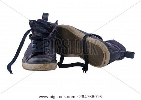 Old Worn Blue Boy Shoes Isolated On White Background.