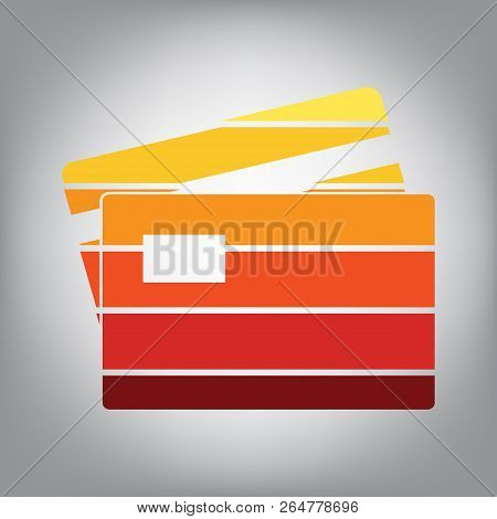 Credit Card sign. Vector. Horizontally sliced icon with colors f poster