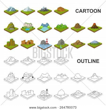 Mountains, Massive Cartoon Icons In Set Collection For Design. The Surface Of The Earth Vector Isome