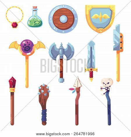 Weapon Rpg Game Set Equipment Loot Booty Bow Sword Wand Staff Poison Things Artifact Inventory Vecto