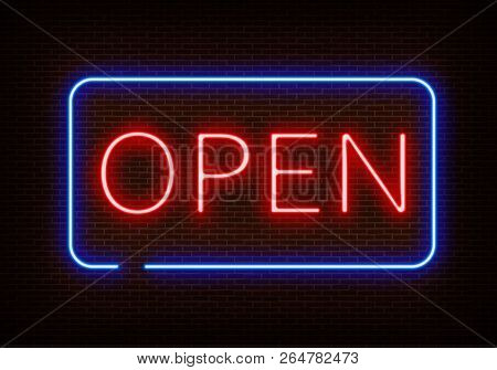 Neon Open Sign Light Vector Isolated On Dark Red Brick Wall. Night Frame Light Decoration. Realistic