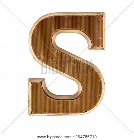 Chocolate Letter S From Above On White Background For Annual Sinterklaas Holiday Event In The Nether