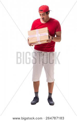 Handsome contractor holding fragile box isolated on white  poster