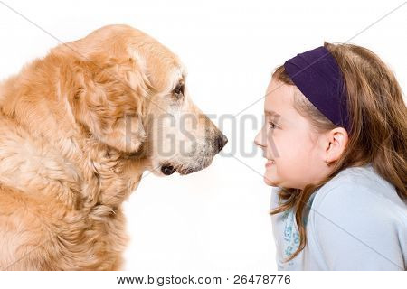 Cute girl and her dog friend