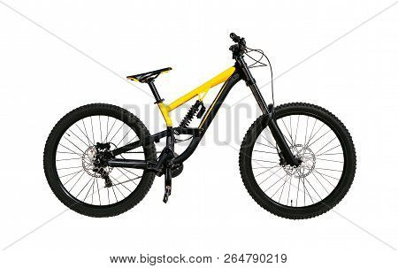 Full Suspension Bicycle With Shock Absorber And Disc Brakes For Downhill And Cross-country Riding. E