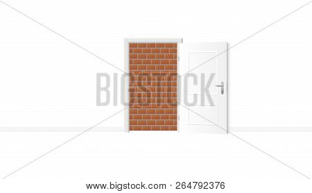 Opened white door, but obstructed by an impenetrable brick wall. Symbol for being trapped, jailed and banished, and for blockade, barricade, barrier, captivity or obstruction. Vector illustration. poster