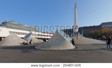 HELSINKI, FINLAND - OCTOBER 14, 2018: People at Amos Rex art museum in the center of Helsinki. Opened in 2018, this modern art project costs 50 millions EUR