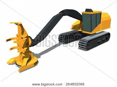 Minimalistic Icon Tracked Feller Buncher Front Side View. Feller Vehicle. Modern Vector Isolated Ill