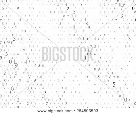 Random Numbers 0 And 9. Background In A Matrix Style. Binary Code Pattern With Digits On Screen, Fal