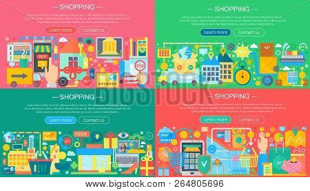 Online Shopping And E-commerce Concepts Collection. Online E Commerce Infographics Template Design,