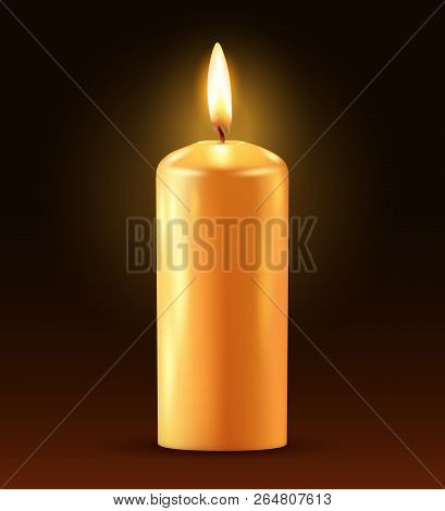 Wax Candle, Candle Burn Isolated On Dark Background. Wax, Fire, Celebration, Candlelight Dinner, Chr