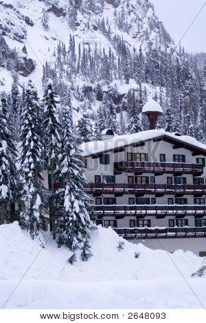 Hotel In Snow Vertical