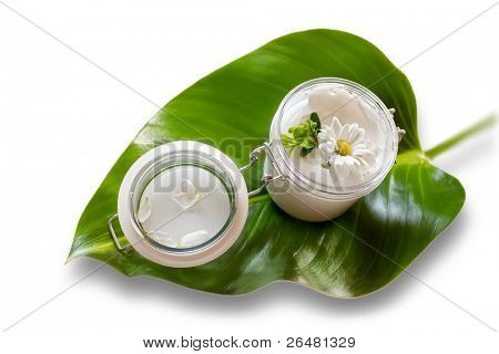 Jar of moisturizing facial cream