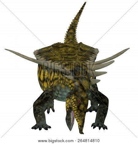 Desmatosuchus Dinosaur Front 3d Illustration - Desmatosuchus Was An Armored Herbivorous Dinosaur Tha