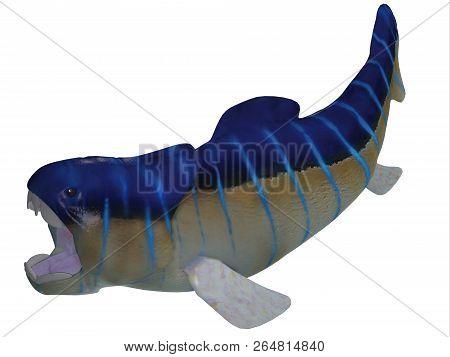 Devonian Dunkleosteus Fish On White 3d Illustration - Dunkleosteus Was A Carnivorous Predatory Fish