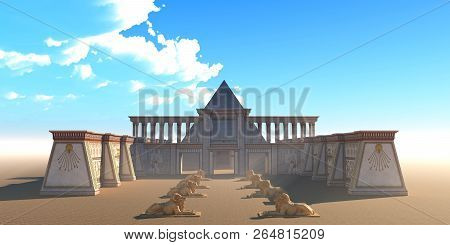 Pyramid Egyptian Temple 3d Illustration - An Egyptian Temple And Pyramid Building Complex In The Des