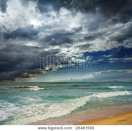 Folly Beach Ocean Sunset Landscape seascape scene in the Indian Ocean