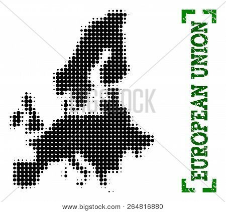 Halftone Map Of Euro Union And Scratched Caption. Vector Green Title With Corners And Scratched Rubb