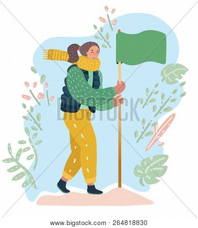 Vector Cartoon Illustration Of Woman Achieved Flag On The Top Of Mountain Successful Goal Achievemen