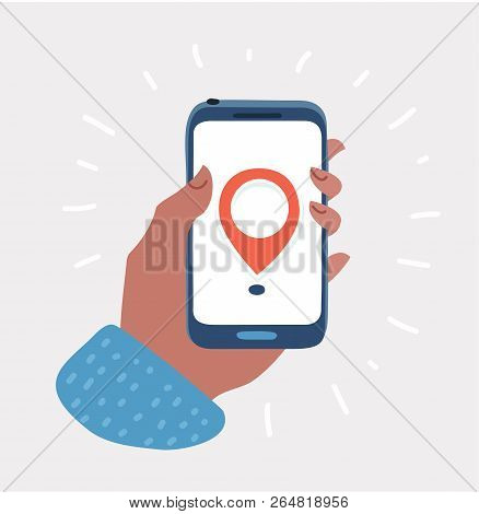 Vector Cartoon Illustration Of Hand Holds Smartphone With City Map Gps Navigator On Smartphone Scree