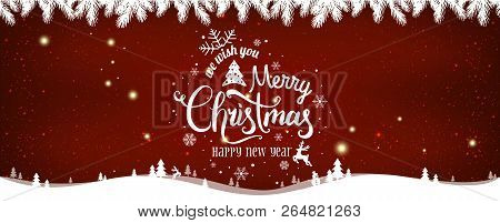 Christmas And New Year Typographical On Shiny Xmas Background With Winter Landscape With Snowflakes,