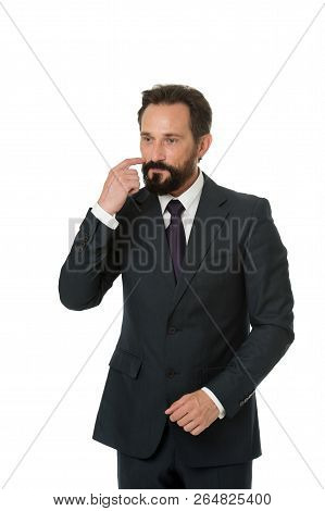 Businessman Formal Suit Mature Man Isolated White. Businessman Bearded Thoughtful Entrepreneur. Thou