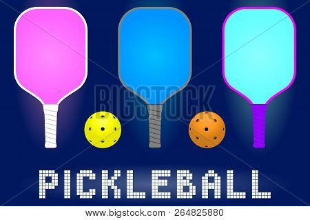 Pickleball Paddle Rackets And Balls. Set Of Sport Equipment For Hobby Game In Modern Color. Stock Ve