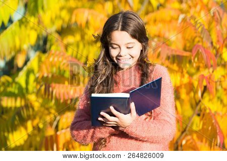 There Is No End To Education. Small Child Read Book On Autumn Day. Small Child Enjoy Reading On Autu