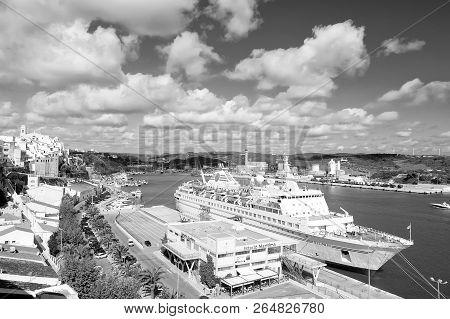 Mahon, Spain - April 06, 2010: Ocean Liner Silver Cloud By Silversea In Sea Harbor. Cruise Ship In S