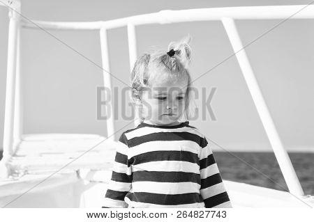 Sea Is His Vocation. Baby Boy Enjoy Vacation Cruise Ship. Child Cute Sailor Yacht Sunny Day. Boy Ado