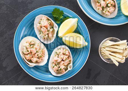 Fresh Homemade Chilean Salmon Ceviche With Lemon Juice, Onion, Garlic, Salt And Cilantro, Served On