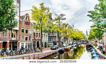 Amsterdam, The Netherlands - Sept 28, 2018: Historic Gable Houses Along The Bloemgracht In The Histo