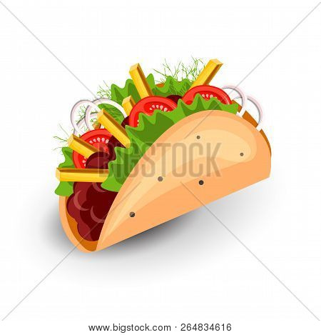 Tortilla Burritos Wrap Vector Cartoon Illustration. Mexican Burritos With French Fries And Vegetable