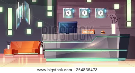 Vector Cartoon Background Of Hotel Reception, Foyer. Modern Desk, Illumination Of Empty Hall. Lobby