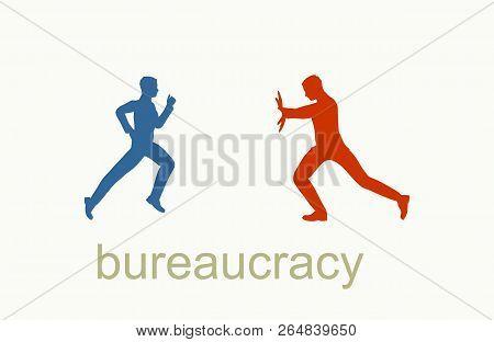 Businessmen Stopped By Bureaucrat . Bureaucracy Concept. Flat Illustration.