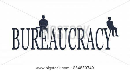 Businessmen Stopped By Bureaucrat . Bureaucracy Concept. Flat Illustration