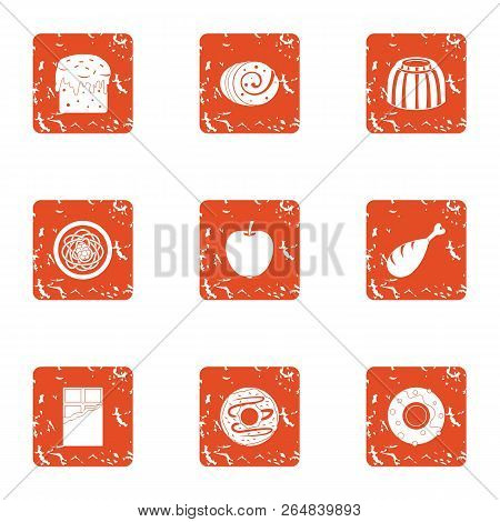 Dulcet Icons Set. Grunge Set Of 9 Dulcet Vector Icons For Web Isolated On White Background