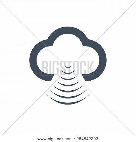 Cloud Data Sharing With Wlan, Wifi Icon, Isolated On White Background, Flat Vector Illustration Can