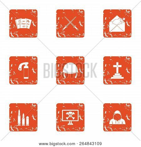 Insecurity Icons Set. Grunge Set Of 9 Insecurity Vector Icons For Web Isolated On White Background