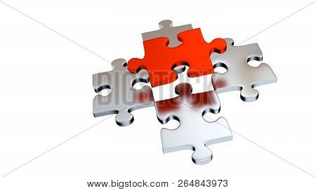 3d Illustration Of Four Grey Puzzle Pieces Under One Red Piece With A White Background