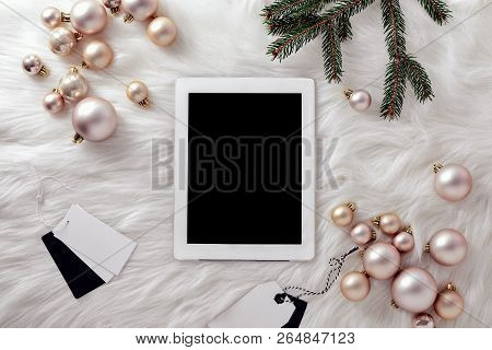 Christmas Social Media Concept, Fashion Blogging Or Shopping Online During Christmas Holidays, White