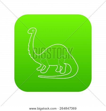 Apatosaurus Dinosaur Icon Green Vector Isolated On White Background