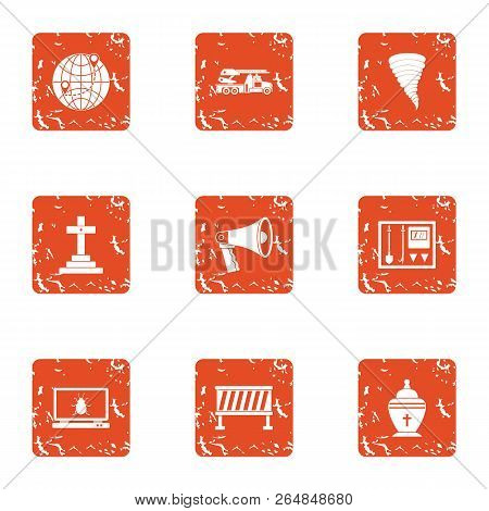 Emigrate Icons Set. Grunge Set Of 9 Emigrate Vector Icons For Web Isolated On White Background