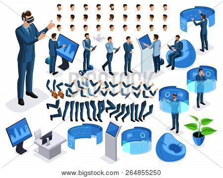 Isometric Set Business Men With Gadgets, Create Your Character, A Set Of Emotions, Gestures Of Hands