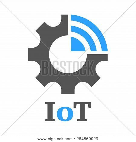 Simple Icon To Represent The Internet Of Things Iot Concept. Gear, Settings And Network. Iot, Indust
