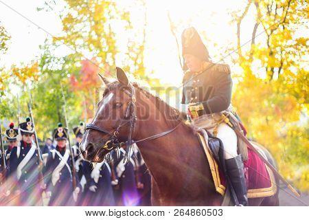 Saint Petersburg, Russia - October 13, 2018: Historical Reconstruction. General On Horse. Solemn Mar