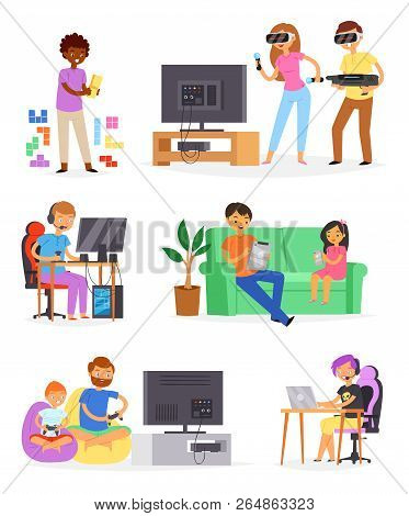 Gamer Vector Man Or Woman With Child Character Playing With Virtual Reality Glasses Illustration Set