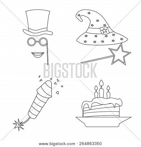 Vector Design Of Party And Birthday Symbol. Set Of Party And Celebration Vector Icon For Stock.