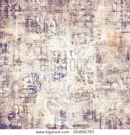 Old Grunge Newspaper Paper Textured Square Background. Vintage Newspaper Pattern. Newsprint Typed Sh