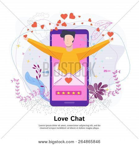Love Online Chat Concept. Mobile Application For Dating